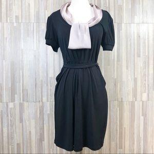 BCBG Paris Black With Attached Scarf Dress M